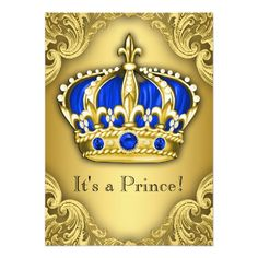 Fancy Prince Baby Shower Blue and Gold 4.5x6.25 Paper Invitation Card