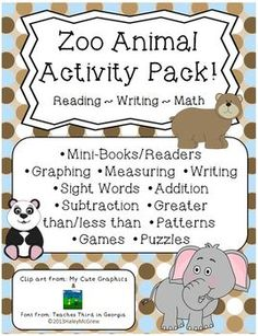 Zoo Animal Activity Pack! Reading-Writing-Math! Use this fun set during your animal or Zoo unit! Mini-books, patterns, books, graphs, measuring, puzzles, writing, etc. $
