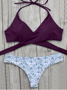 Wrap Bikini Top and Baroque Bottoms - BURGUNDY M