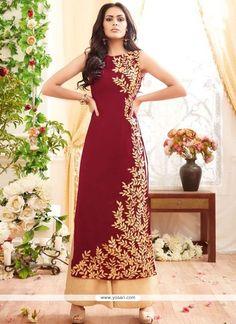 Resham Georgette Designer Palazzo Suit In Red Model: YOS8672