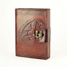 Single Dragon Leather Journal w/Brass Latch
