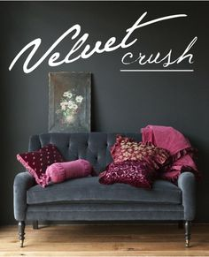 Stylish tufted gray velvet with a pop of hot pink _ Sofa_ living room_ entry