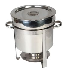Thunder Group stainless steel 11 quart marmite chafer. The chafer is created out of stainless steel and is perfect for holding soups, hot cereals, and sauces. The round, cylindrical shape and deep base is meant to hold foods of the liquid type.