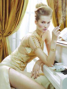 """""""High Glam"""" by Toni Garrn by Miles Aldridge for Vogue Italia March 2010 Toni Garrn, Runway Fashion, High Fashion, Fashion Beauty, Womens Fashion, Lingerie Plus Size, Hot Lingerie, Vogue, Miles Aldridge"""