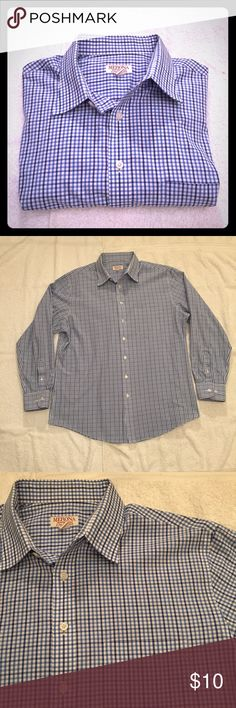 """Merona Blue & Purple Small Plaid Button Down Merona Blue & Purple Small Plaid Button Down. Size L (16-16.5"""") measures: 19"""" across shoulders, 25"""" across chest, 30"""" long, 25"""" sleeve. 60% cotton, 40% poly. fds/11617 Merona Shirts Casual Button Down Shirts"""