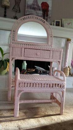 Vintage wicker vanity set includes desk chair mirror and custom