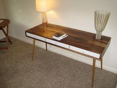 Work Desk With Gloss White Drawers Walnut by jeremiahcollection, $1700.00