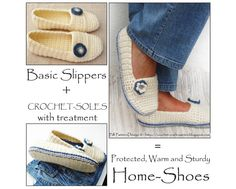 Wooly Winter Loafers  Crochet Pattern. This listing is a 2 in1 pattern-pack for basic Wooly Winter Loafer Slippers + Crochet-Soles with tutorial for how to make the insoles.  By PdfPatternDesign, €8.00