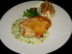 Breast of Chicken Stuffed with Smoked Prosciutto, Provolone & Fresh Sage and Rolled in Panko Bread Crumbs
