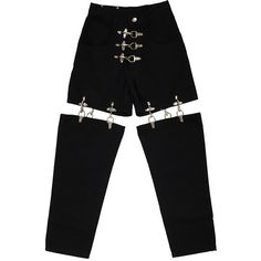 FIRE MAN METAL JOINT PANTS -BLACK- (515 BAM) ❤ liked on Polyvore featuring pants, metal pants, zip pants, zipper pants and zipper trousers