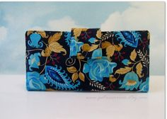 Handmade wallet navy with bold teal and gold by PatrisCorner