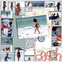 ideas for incorporating Snapfish photo collages into scrapbook pages - try your…