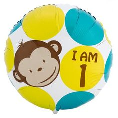 Mod Monkey Boy 1st birthday balloon