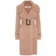 Burberry Piota Knit Trench Coat ($1,915) via Polyvore featuring outerwear, coats, beige, burberry trenchcoat, knit coat, camel coat, trench coat and burberry