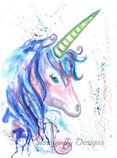 Unicorn watercolour PRINT mystical unicorn by SunnyjollyDesignsArt