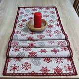 Úžitkový textil - Režné Vianoce vločky a srdiečka - stredový obrus 140x40 - 7322625_