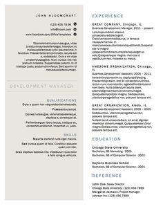 Una opción minimalista con dos columnas. | 21 diseños gratis de currículum que cualquier cazador de trabajos necesita