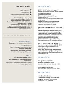 A minimalist option with two columns. | 21 Free Résumé Designs Every Job Hunter Needs