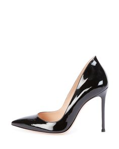 "Gianvito Rossi flatters your form with the fluid shape of this patent leather pump. Gianvito Rossi patent leather pump. 4 1/4"" covered heel. Pointed toe; low-dipped vamp. High-cut heel counter. Leather lining and sole. Made in Italy."