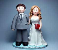 Red & Pale Blue Theme, Books Lover Wedding Cake Topper