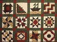 Wow, how many of these traditional block designs can you name? Great coloring and excellent piecing makes this quilt a winner. Made in Lancaster by an Amish… Colchas Country, Country Quilts, Sampler Quilts, Amish Quilts, Quilting Tutorials, Quilting Designs, Plus Quilt, Green Quilt, Block Of The Month