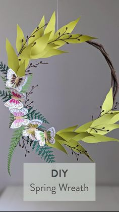 Diy Spring Wreath, Spring Crafts, Diy Paper, Paper Crafts, Handmade Wire Jewelry, Wreath Crafts, Diy Wedding Decorations, Farmhouse Chic, Birthday Party Themes