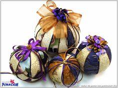 Bolas de porex decoradas por Loli. #manualidades #pinacam #porex #navidad                                       www.manualidadespinacam.com