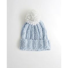 sneakers for cheap e6a60 17fff Hollister Pom Shine Ribbed Beanie ( 7.98) ❤ liked on Polyvore featuring  accessories, hats