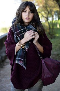 Purple sweater, big scarf