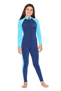 addcd636597 EcoStinger Girls Full Body Swimsuit Stinger Suit Long Sleeves UV Protection  UPF50 Navy Blue