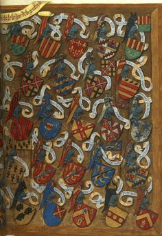 Tournoi «fait en la ville de Bruges par tres hault et puissant seigneur, monseigneur de La Gruthuse», le 11 juin 1392; avec les armoiries des combattants (f°Er) -- «Traittié de la forme et devis comme on fait les tournoyz», par René d'Anjou, 1401-1500 [BNF Ms Fr 2693- ark:/12148/btv1b8449033b] Medieval World, Medieval Art, Medieval Fantasy, Medieval Manuscript, Illuminated Manuscript, Illustrations, Illustration Art, Medieval Paintings, Book Of Hours