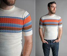 Vintage 1970s Men's Sunrise Striped Sweater  by GirlLeastLikely