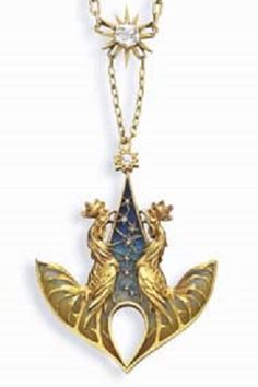 Gautrait 1900 'Cockerels' Pendant: designed as two gold sculpted cockerels crowing against a blue & yellowish green plique-à-jour enamel dawn sky w/rose-cut diamond stars, to the star-set diamond surmount, suspended from a gold link chain, joined by a larger gold & old mine-cut diamond star, mounted in 18k gold, w/FR assay mark. Signed L Gautrait