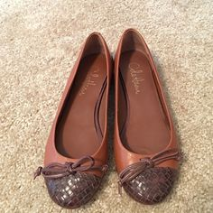 Cole Hann flats Worn once but In great condition. Some scratches and wear with in and outside of shoe. Please look at pics Cole Haan Shoes Flats & Loafers