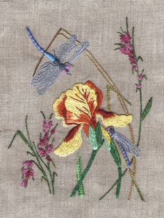 DRAGONFLY embroidery, iris, flower, grass