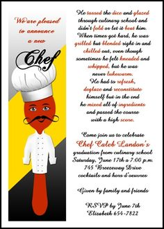 chef hat culinary cooking school graduation announcements and invitations for graduate commencements and graduating ceremonies at GraduationCardsShop, our card number 7632GCS-LM, with freebies, discounts, incentives, and other special promos