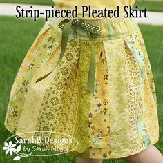 "Strip-pieced Pleated Skirt tutorial. Very, very similar to Sew Serendipity's ""Stella Strip Skirt"" pattern (which I own)."