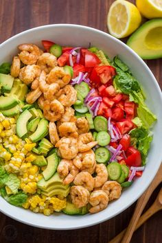 Avocado Shrimp Salad Recipe with cajun shrimp and the best flavors of summer. The cilantro lemon dressing gives this shrimp salad incredible fresh flavor! I would omit corn and make low carb. My new Pin Easy-Avocado-Shrimp-Salad-Recipe.jpg pinned on Salad Shrimp Avocado Salad, Shrimp Salad Recipes, Salad Recipes Video, Best Salad Recipes, Summer Salad Recipes, Summer Salads, Healthy Recipes, Shrimp Salads, Salad With Shrimp