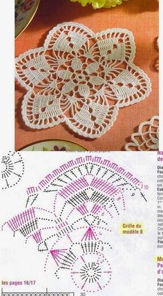 Three more stunning little doilies to crochet! Circular doily with floral motif: A big circular doily in two tones, looks great in pink and white: Star shaped doily: More Great Patterns Like This Crochet Placemat Patterns, Granny Square Crochet Pattern, Crochet Tablecloth, Crochet Flower Patterns, Crochet Chart, Filet Crochet, Crochet Motif, Crochet Doilies, Crochet Flowers