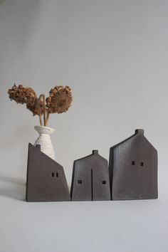 Ceramic houses, Christmas gift,black clay. miniature houses, handmade ceramic…