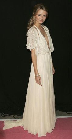 Mischa looking perfectly boho chic and sexy with a plunging neckline.  women's fashion and style.