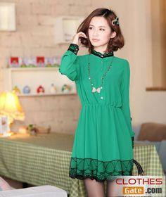 Women's Spring Korean ladies the waist chiffon lace collar long-sleeved chiffon dress - See more at: http://www.clothesgate.com/spring-korean-ladies-the-waist-chiffon-lace-collar-long-sleeved-chiffon-dress