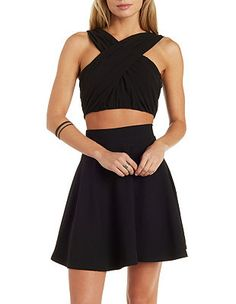 Love & Air Ruched Chiffon Wrap Crop Top: Charlotte Russe