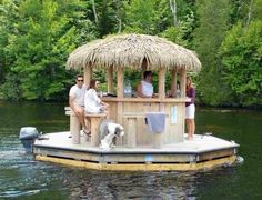 Tiki Leveled Up! Floating tiki bar, attach a boat motor for a lake Floating Picnic Table, Lake Floats, Lake Toys, Casas Shabby Chic, Floating House, Floating Dock, Tiki Hut, Lake Cabins, Lake Cottage