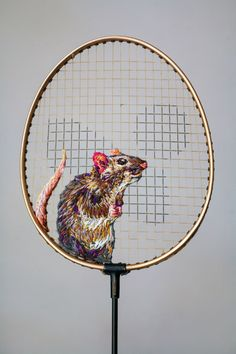 New Embroidered Works on Rackets, Shoes, and Fences by Danielle Clough (Colossal) Embroidery Art, Cross Stitch Embroidery, Embroidery Patterns, Cross Stitch Patterns, Yarn Bombing, Textile Artists, Rackets, Art Plastique, Fiber Art