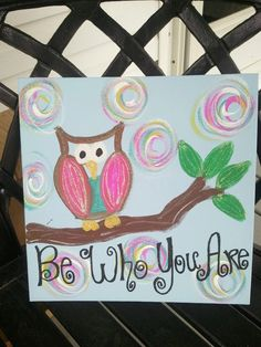 """Whimsical FUNKY HOOT OWL Door Home Decor Hanger 12x12 Flat Canvas """"Be Who You Are"""" Inspirational. $15.00, via Etsy."""