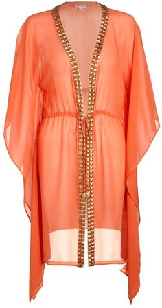 HEIDI KLEIN Brights Orange Embellished Silk Kaftan - Lyst