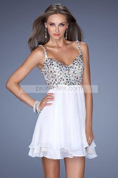 2014 Straps V Back Short Prom Dress Beaded Bodice With Tiered Chiffon Skirt A Line 129.99