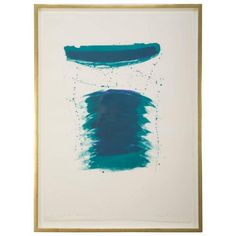 """""""Very First Stone"""" a lithograph by Sam Francis (American, 1923-1994), 1959-1968, edition of 25, printed and published by ULAE, West Islip, New York. Full sheet. One of the edition is also in the collection of the MOMA, New York. Framed in a 22-karat yellow gold frame using all archival materials.  Circa 1959-1968.    34.5 H x 25.5 W x 1.5 D"""
