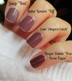 Butter London Toff Dupes - Essie Angora Cardi is VERY close! Finger Paints Nail Polish, Mauve Nail Polish, Nail Polish Dupes, Mauve Nails, Glitter Nail Polish, Butter London Toff Nail Polish, Soft Summer Makeup, Lip Tips, Makeup Dupes
